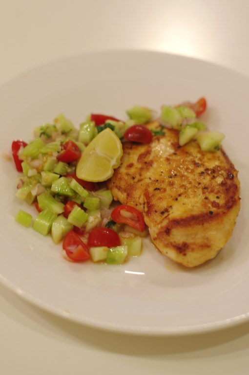 Really easy pan fried chicken with salsa