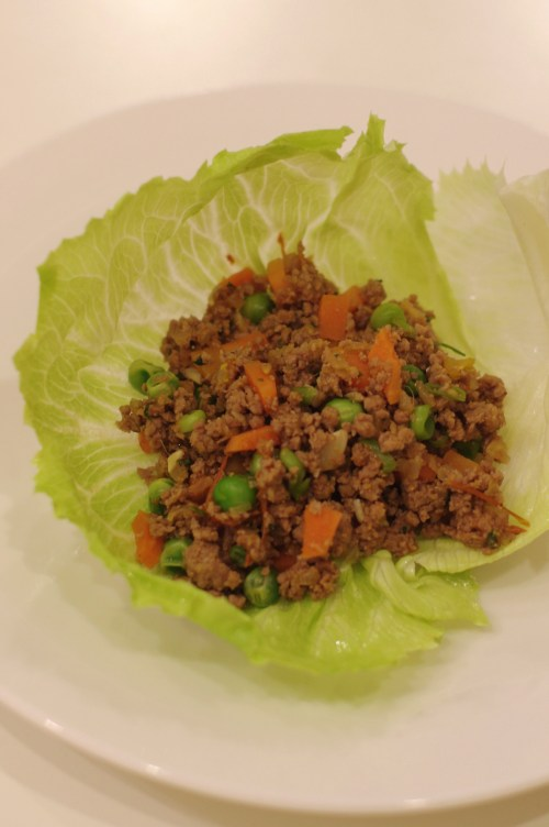 Lamb with Peas and Mint in a Lettuce Wrap