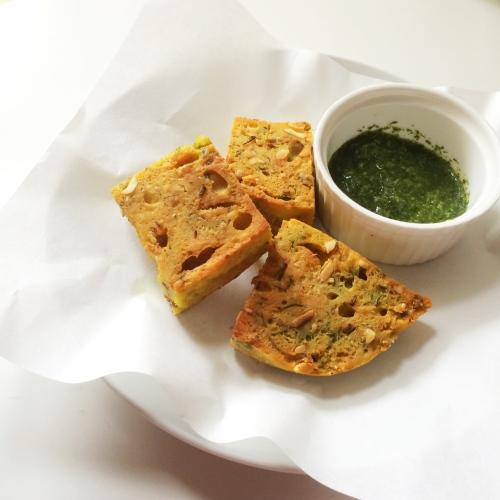 steamed kothimbir vadi (coriander fritters)